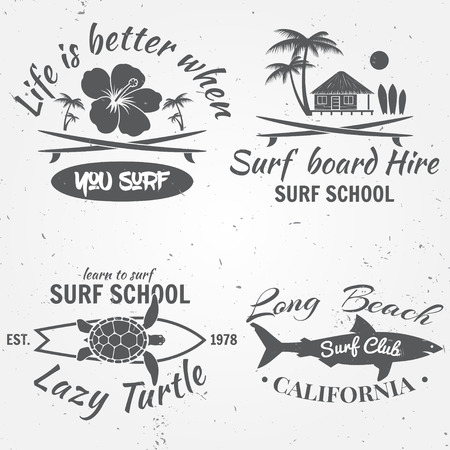 varsity: Set of retro vintage badges and labels. For web design, mobile and application interface, also useful for infographics. Surf club design. Vector illustration. Illustration