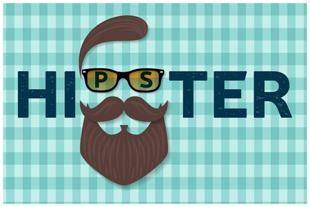 Hipster typography design. Hipster style hair, beards and mustache. For greeting card, poster, flyer or banner. Vector illustration.