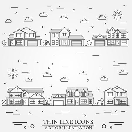 Wijk met woningen afgebeeld op wit. Vector dunne lijn icoon voorsteden Amerikaanse huizen. Voor webdesign en applicatie-interface, ook nuttig voor infographics. Vector donkergrijs. Stock Illustratie