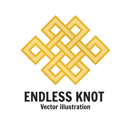 The endless knot. Graphic ornament composed of right-angled, intertwined lines. For web design, mobile and application interface, also useful for infographics. Vector illustration.