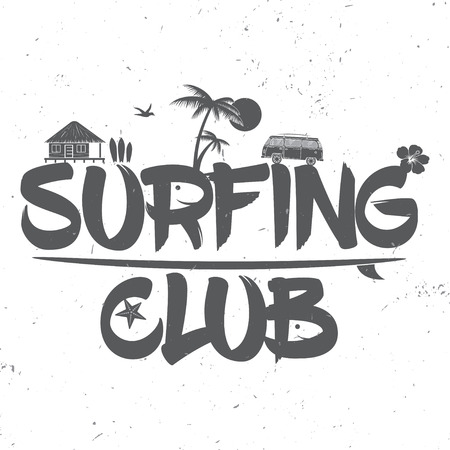 Surf club concept. Vector Summer surfing retro badge. Surfing concept for shirt or logo, print, stamp. Bus and palm. Surf icon design. - stock vector. Ilustração