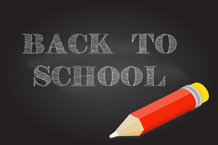 article marketing: Welcome Back to School design. For greeting card, advertising, promotion, poster, flier, blog, article, social media, marketing or banner. Back To School typographical background on chalkboard.