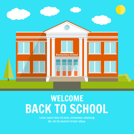 suburban street: Welcome back to School background with place for your text. Elementary School design template. Back to School banner for website template, cards, posters, . Vector illustration.