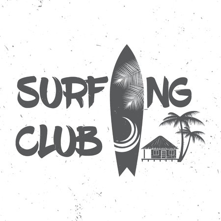 varsity: Surf club concept. Vector Summer surfing retro badge. Surfing concept for shirt , print, stamp. Surf icon design. - stock vector.