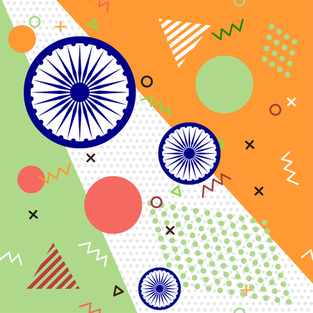 eighties: Trendy geometric elements memphis cards for Independence day of India. Texture, pattern and geometric elements. Vector illustration. Illustration
