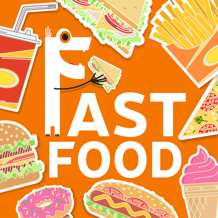 Fast food flat icons set. Elements on the theme of the restaurant business. Ice cream, hot dog, french fries, soda cup, pizza slice, burger, sandwich and donut. Clipping mask with a group of objects.