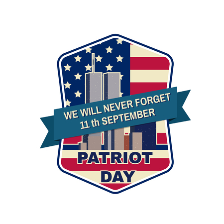 attacks: Retro vintage badge or label. Patriot day badge emblem with buildings and American flag. National Day of Prayer and Remembrance for the Victims of the Terrorist Attacks.