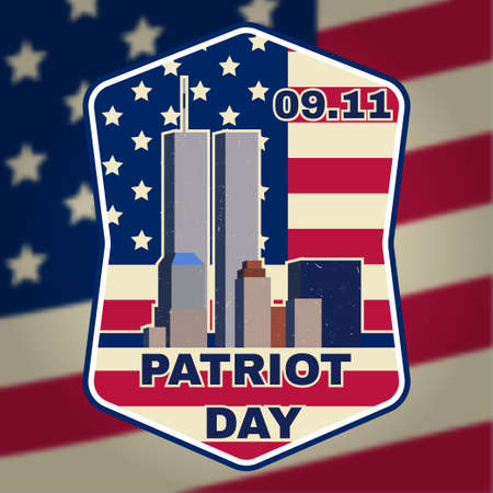 Retro vintage badge or label. Patriot day badge emblem with buildings and American flag. National Day of Prayer and Remembrance for the Victims of the Terrorist Attacks.