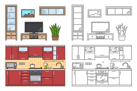 modern kitchen: Modern kitchen wall and living room interior