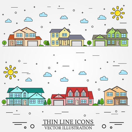 upmarket: Neighborhood with homes illustrated on white background. Vector thin line icon suburban american houses day. For web design and application interface, also useful for infographics.