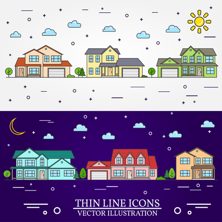 single dwelling: Neighborhood with homes illustrated on white and purple background. Vector thin line icon suburban american houses day, night. For web design and application interface, also useful for infographics.