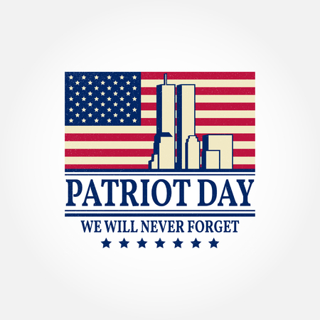 Patriot Day vintage design. We will never forget september 11, 2001. Patriotic banner or poster. Vector illustration for Patriot Day. Ilustracja