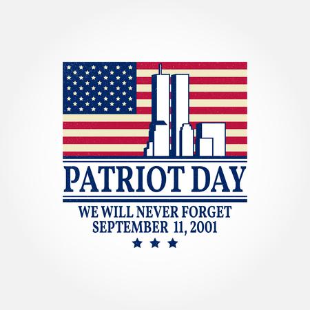 Patriot Day vintage design. We will never forget september 11, 2001. Patriotic banner or poster. Vector illustration for Patriot Day. Vectores