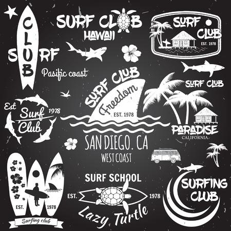 surfboard fin: Vintage Surfing Graphics and emblems for web design or print. Vector illustration.