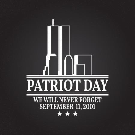 Dag van de patriot vintage design. We zullen nooit vergeten 11 september, 2001. Patriottische banner of poster. Vector illustratie voor de Dag van de patriot. Afdrukken op t-shirt, t-shirt, kleding, kaarten. Vector Illustratie