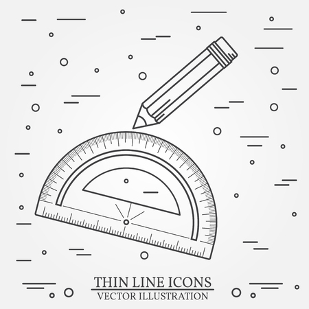 grey line: Protractor and pencil icon thin line for web and mobile, modern minimalistic flat design. Vector dark grey icon on light grey background.