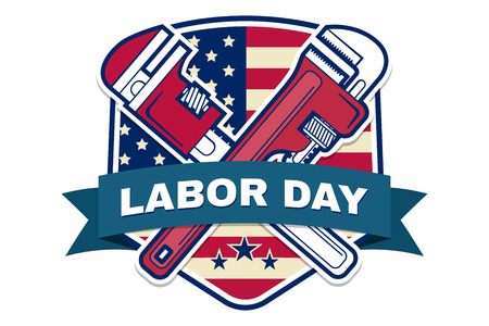 american vintage: Retro vintage badge or label. Labor day badge emblem with illustrated wrenches and American flag. Vector illustration. Labor day design.