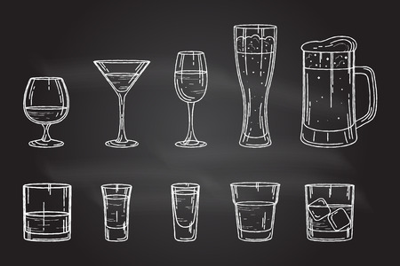brandy: Set drink alcohol glass for beer, whiskey, wine, tequila, cognac, champagne, brandy, cocktails, liquor. Vector illustration isolated on white background. Illustration
