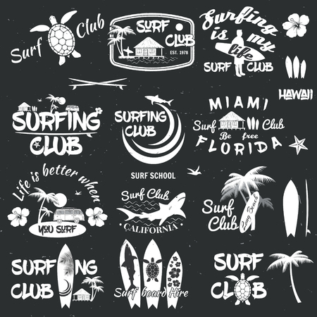 surfboard fin: Set of retro vintage badges and labels. For web design, mobile and application interface, also useful for infographics. Surf club and surf school design. Vector illustration.