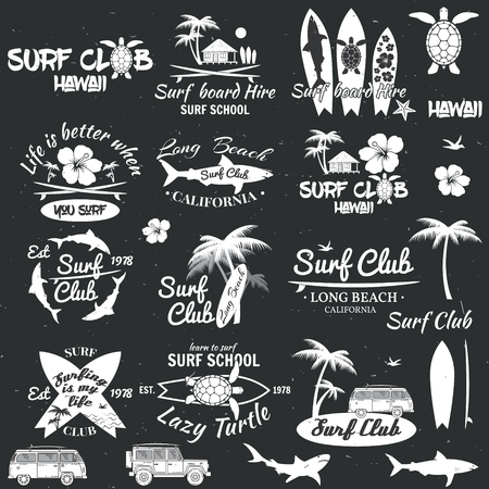 combi: Set of retro vintage badges and labels. For web design, mobile and application interface, also useful for infographics. Surf club and surf school design. Vector illustration.