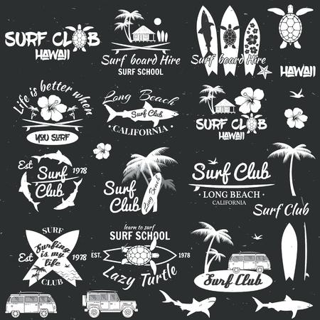 Set von Retro-Vintage-Abzeichen und Etiketten. Für Web-Design, mobile und Anwendungsschnittstelle, auch nützlich für die Infografiken. Surf Club und Surfschule Design. Vektor-Illustration. Vektorgrafik