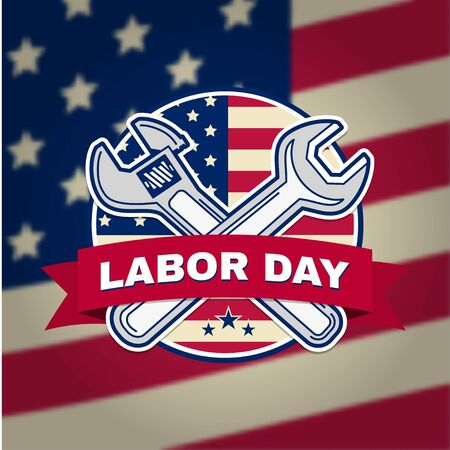 Retro vintage badge or label. Labor day badge emblem with illustrated wrenches and American flag. Vector illustration. Labor day design.