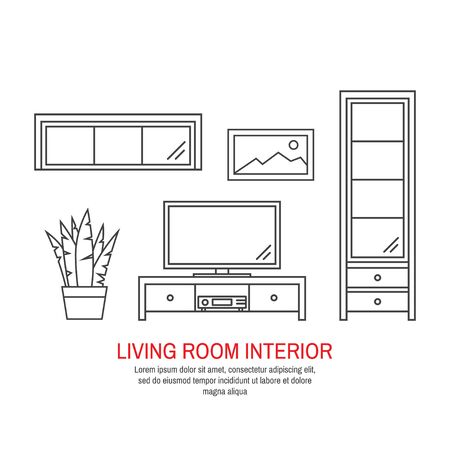 Modern living room interior. For web design, banner, flyer, mobile and application interface, also useful for infographics. Thin line icon vector illustration isolated on white background.