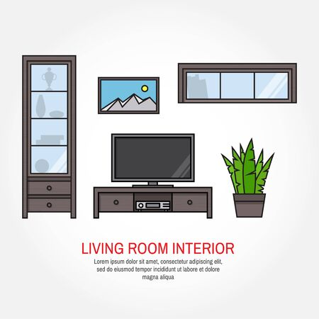 sideboard: Modern living room interior. For web design, banner, flyer, mobile and application interface, also useful for infographics. Thin line icon vector illustration isolated on white background.