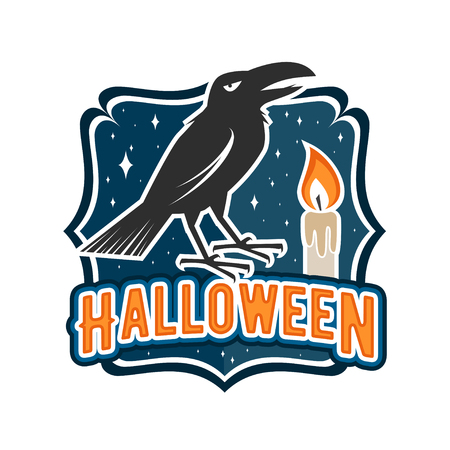 halloween tee shirt: Halloween vintage badge, emblem or label. Vector illustration. For print on t shirt, tee, card, invitation, template. Halloween crow and candle. Illustration