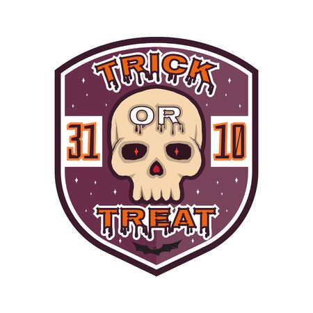 halloween tee shirt: Halloween vintage badge, emblem or label. Vector illustration. Invited to a Halloween party with skull. For print on t shirt, tee, card, invitation, template.