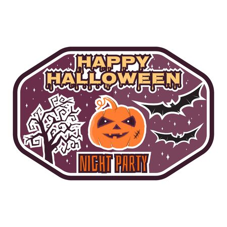 halloween tee shirt: Halloween vintage badge, emblem or label. Vector illustration. For print on t shirt, tee, card, invitation, template. Halloween pumpkin, bats and halloween tree.