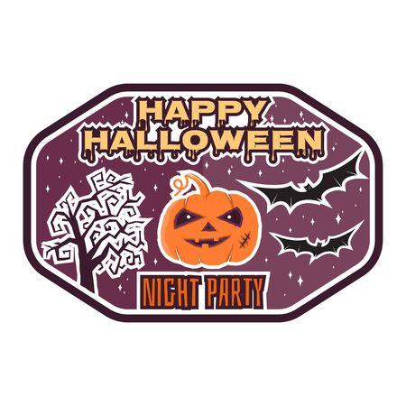 Halloween vintage badge, emblem or label. Vector illustration. For print on t shirt, tee, card, invitation, template. Halloween pumpkin, bats and halloween tree.