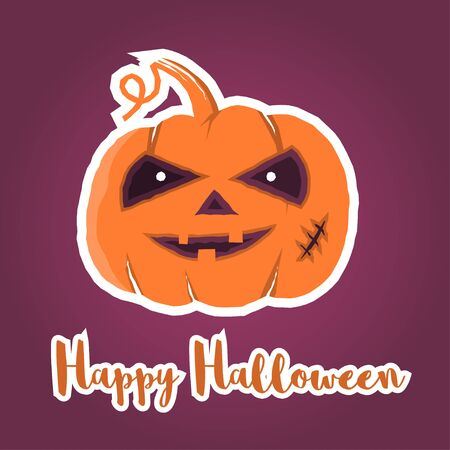 greating card: Happy Halloween greating card, 31th october greeting card. Happy Halloween poster or banner. Vector illustration.