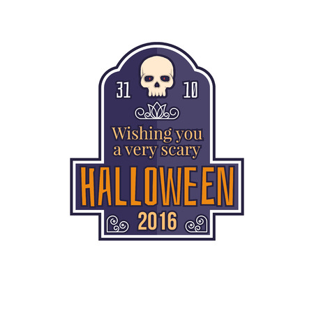 tee shirt template: Halloween vintage badge, emblem or label. Vector illustration. Wishes to a Halloween. For print on t shirt, tee, card, invitation, template. Illustration