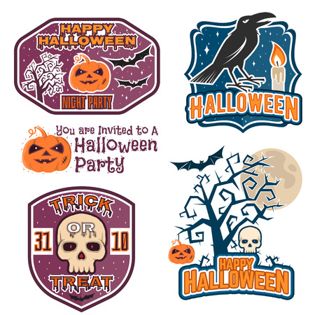 halloween tee shirt: Halloween vintage badges, emblems or labels. Vector illustration. Invited to a Halloween party with bat, ghost, skull and pumpkin. For print on t shirt, tee, card, invitation, template.