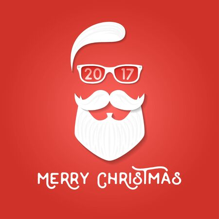 tee shirt template: Merry Christmas greeting card template. Santa Claus on the red backgrounds. Hipster style. Vector illustration. For print on t shirt, tee, card, invitation, template.