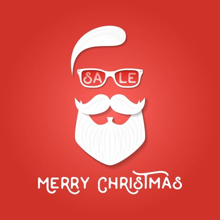 tee shirt template: Christmas sale season template. Santa Claus on the red backgrounds. Hipster style. Vector illustration. For print on t shirt, tee, card, invitation, template. Illustration