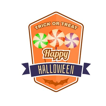 halloween tee shirt: Halloween vintage badge, emblem or label. Vector illustration. Invited to a Halloween party with candy. For print on t shirt, tee, card, invitation, template. Illustration