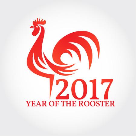 Rooster on white background. Symbol of Chinese New year 2017. Vector illustrations. For flyer, poster, banner, t-shirt or greeting card with red cock.