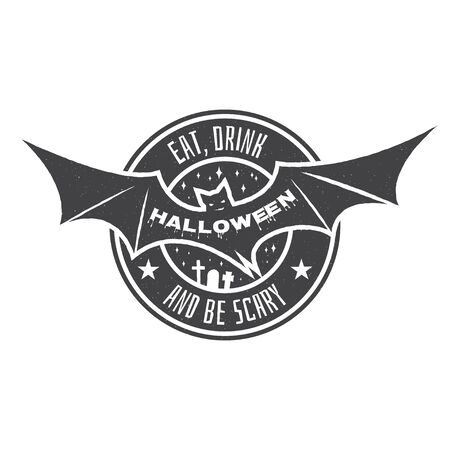 halloween tee shirt: Halloween vintage badge, emblem or label. Vector illustration. Invited to a Halloween party with bat. For print on t shirt, tee, card, invitation, template.