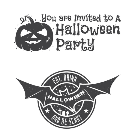 halloween tee shirt: Halloween vintage badges, emblems or labels. Vector illustration. Invited to a Halloween party with bat and pumpkin. For print on t shirt, tee, card, invitation, template.
