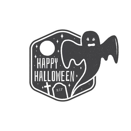 halloween tee shirt: Halloween vintage badge, emblem or label. Vector illustration. Invited to a Halloween party with ghost. For print on t shirt, tee, card, invitation, template.