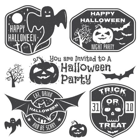 tee shirt template: Halloween vintage badges, emblems or labels. Vector illustration. Invited to a Halloween party with bat, ghost, skull and pumpkin. For print on t shirt, tee, card, invitation, template.