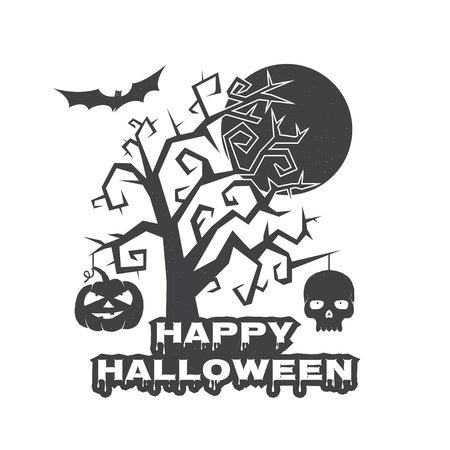 halloween tee shirt: Halloween vintage badge, emblem or label. Vector illustration. Invited to a Halloween party with pumpkin, scull and tree. For print on t shirt, tee, card, invitation, template.