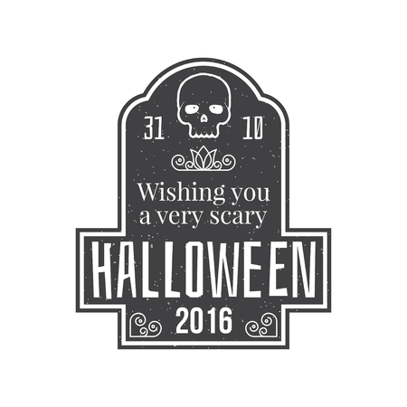 halloween tee shirt: Halloween vintage badge, emblem or label. Vector illustration. Wishes to a Halloween. For print on t shirt, tee, card, invitation, template. Illustration