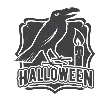 tee shirt template: Halloween vintage badge, emblem or label. Vector illustration. For print on t shirt, tee, card, invitation, template. Halloween crow and candle. Illustration