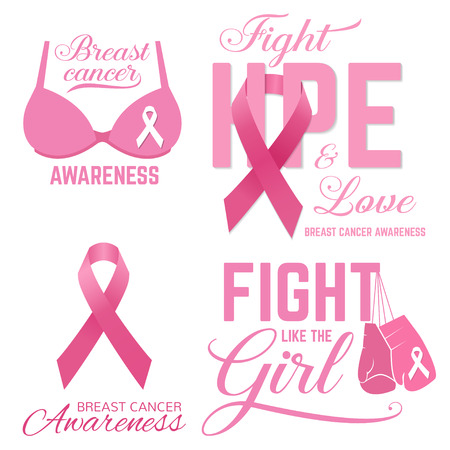 Set of Breast cancer awareness pink card. Fight like the Girl. Vector illustration. For poster, flyer or banner. Breast Cancer Awareness design.