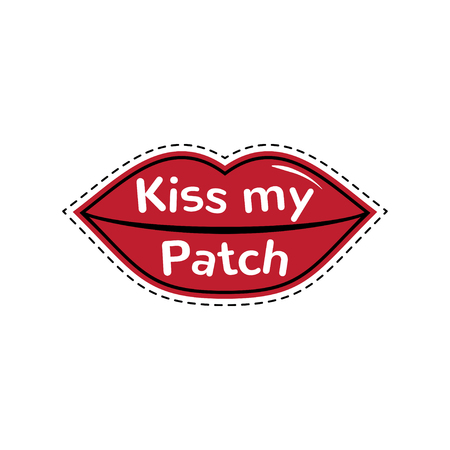 sexy tongue: Kiss my patch. Vector illustration. Comic creative fashion lips. Lips isolated on white background. Illustration