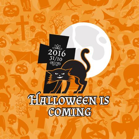 halloween tee shirt: Halloween vintage badge, emblem or label. Vector illustration. Halloween is coming. For print on t shirt, tee, card, invitation, template.
