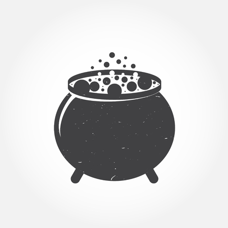 disgusting: Halloween cauldron icon. For web design, banner, flyer, mobile and application interface, also useful for infographics. Halloween cauldron isolated on white background.